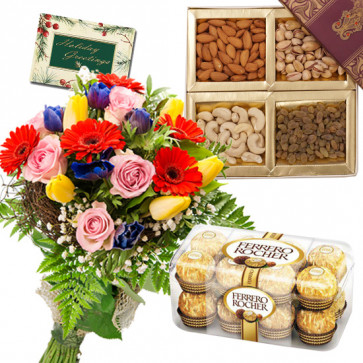 Assorted Crunch - 12 Mix Flowers Bunch, Ferrero Rocher 16 Pcs, Assorted Dry Fruits 200 gms + Card