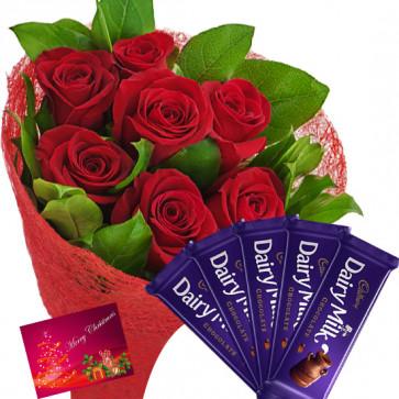 Bunch N Bars - 12 Red Roses Bunch, 5 Cadbury Dairy Milk Bars + Card