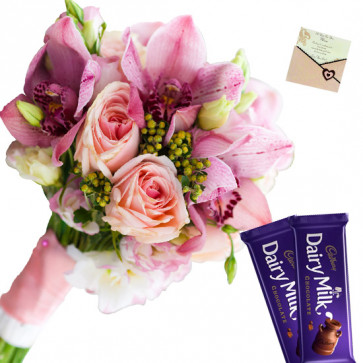 Pink Chocolaty - 12 Pink Flowers Bunch, 2 Cadbury Dairy Milk + Card