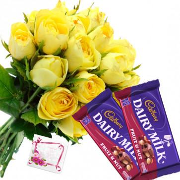 Yellow Nutty - 6 Yellow Roses Bunch, 2 Cadbury Fruit N Nut + Card