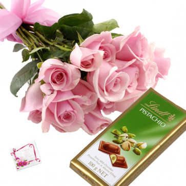 Roses with Lindt - 10 Pink Roses Bunch, Lindt Classic Chocolate + Card