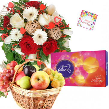 Fruity Celebration - 20 Red & White Roses and Gerberas Bunch, Cadbury Celebrations, 2 kgs Fresh Fruits Basket + Card