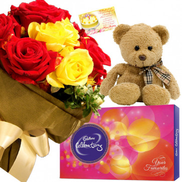 Teddy Celebration - 10 Red & Yellow Roses Bunch, Cadbury Celebration Chocolate, Teddy Bear 6 inch + Card