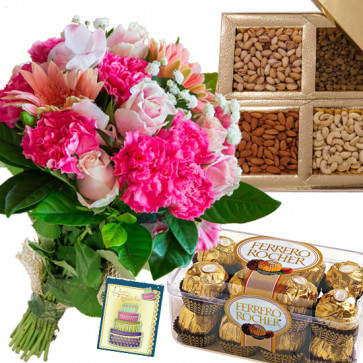 Mix Combo - 12 Pink Colour Gerberas, Carnations & Roses in Bunch, Ferrero Rocher 16 Pcs, Assorted Dry Fruits + Card