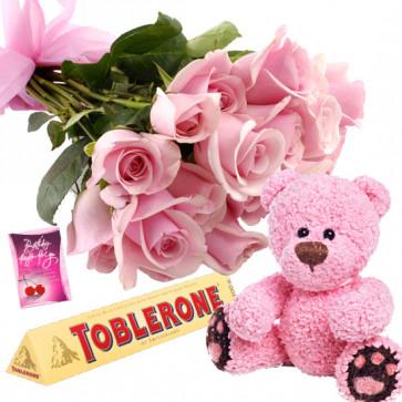 Teddy Crunch - 10 Pink Roses Bunch, Toblerone, Teddy 6 inch + Card