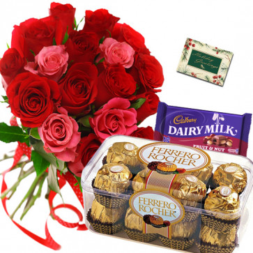 Red N Pink Combo - 12 Red & Pink Roses Bunch, Ferrero Rocher 16 Pcs, Fruit N Nut + Card