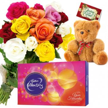 Soft Rosy Treat - 8 Mix Roses Bunch, Cadbury Celebration, Teddy 6 inch + Card