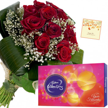 Celebration N Roses - Bunch of 10 Red Roses, Cadbury Celebration + Card