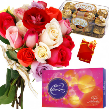 All with Roses - 20 Mix Roses Bunch, Ferrero Rocher 16 Pcs, Cadbury Celebrations + Card