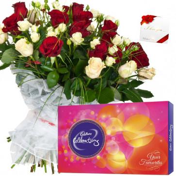 Basket Celebration - 20 Red & White Roses Basket, Cadbury Celebrations + Card