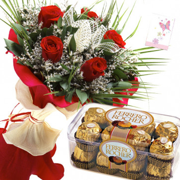 Rosy Ferrero - 10 Red Roses, Ferrero Rocher 16 Pcs + Card