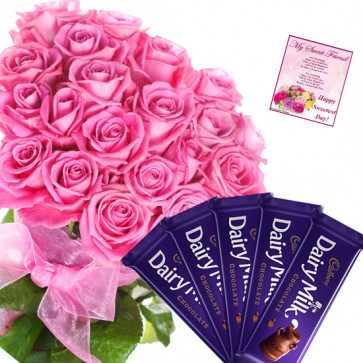 Pink Diary Milk - 16 Pink Roses Bunch, 5 Dairy Milk Bars + Card
