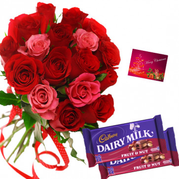 Red N Pink Nut - 20 Red & Pink Roses Bunch, 2 Cadbury Fruit N Nut + Card