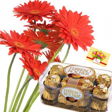 Gerberas N Ferrero - Bunch of 10 Red Gerberas, Ferrero Rocher 16 Pcs + Card