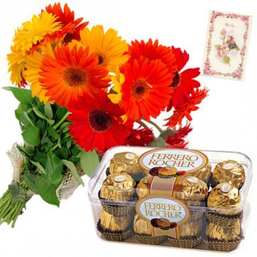 Ferrero with Gerberas - 10 Red & Yellow Gerberas Bunch, Ferrero Rocher 16 Pcs + Card