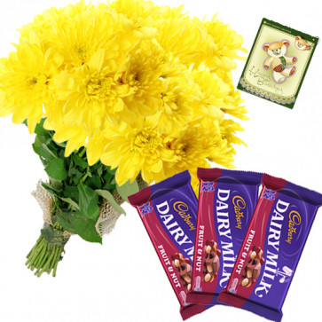 Nutty Carnations - 18 Yellow Carnations Bunch, 3 Fruit N Nut + Card