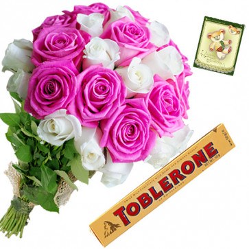 Pink n White Munch - 18 Pink & White Roses, Toblerone + Card