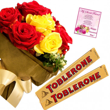 Red N Yellow Toblerone - 18 Red & Yellow Roses Bunch, 2 Toblerone + Card