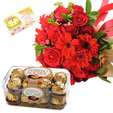 Pink Crunch - 20 Red Roses & Gerberas in Bunch, Ferrero Rocher 16 Pcs + Card
