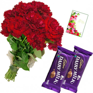 Red Cadbury - Bunch of 20 Red Carnations, 2 Dairy Milk + Card