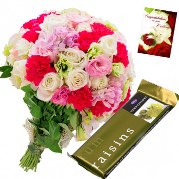 Mix Temptation - 20 Mix Flowers Bunch, Cadbury Temptation + Card
