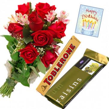 Rosy Crisp - 10 Red Roses Bunch, Toblerone, Cadbury Temptation + Card