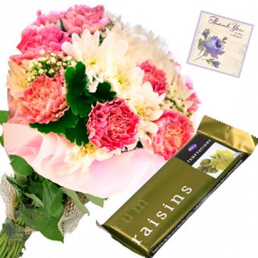 Tempting Treat - 12 Mix Carnations Bunch, Cadbury Temptation + Card