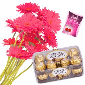 Ferrero Bunch - 12 Pink Gerberas Bunch, Ferrero Rocher 16 Pcs + Card