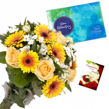 Flowers N Celebrations - 10 Yellow Flowers Bunch, Cadbury Celebrations + Card