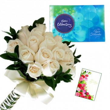 White Celebration - 12 White Roses Bunch, Cadbury Celebration + Card