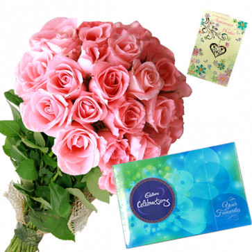 Roses with Celebrations - 30 Pink Roses Bunch, Cadbury Celebration + Card