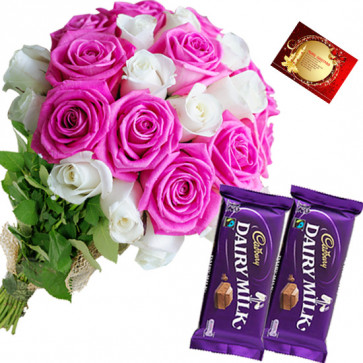 White N Pink - 12 Pink & White Roses Bunch, 2 Dairy Milk + Card