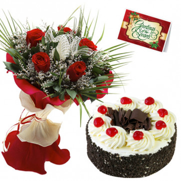 Alluring Flowers & Cake - 10 Red Roses, 1/2 Kg Black Forest Cake+ Card