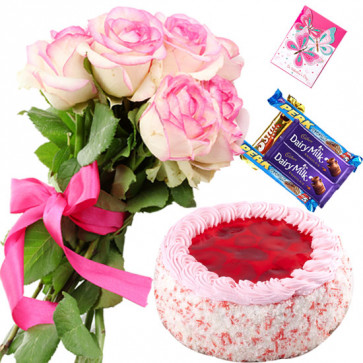 Charming Combo - 10 Pink Roses Bunch, 1/2 Kg Strawberry Cake, 5 Assorted Bars + Card