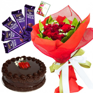 Delicate Feelings - 10 Red Roses Bunch, 1/2 kg Chocolate Cake, 5 Dairy Milk and Card