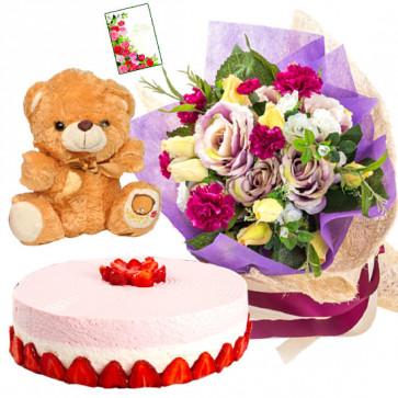 Exquisite Hamper - 12 Mix Flowers Bunch, 1/2 Kg Cake, Teddy Bear 6 inch + Card