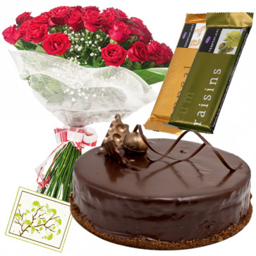 Commendable Choice - 25 Red Roses Bunch, 1 Kg Chocolate Cake,  2 Temptation + Card