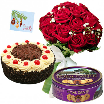 Tender Crunch - 12 Red Roses Bunch, 1/2 Kg Cake, Danish Butter Cookies + Card