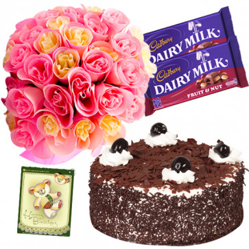 Pleasant Joy - 16 Pink and Yellow Roses Bunch, 1 Kg Black Forest Cake, 2 Fruit n Nut + Card