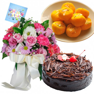 Mystical Joy - 12 Mix Roses Bunch, 1/2 Kg Chocolate Cake,  Kesar Penda + Card