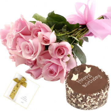 Fine Treat - 6 Pink Roses, 1/2 Kg Chocolate Cake + Card