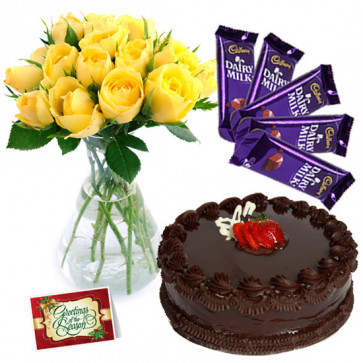 Gorgeous Feelings - 10 Yellow Roses Vase, 1/2 Kg Cake, 5 Dairy Milk + Card