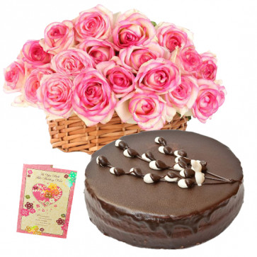 Great Joy - 10 Pink Roses in Basket, 1/2 Kg Chocolate Cake + Card