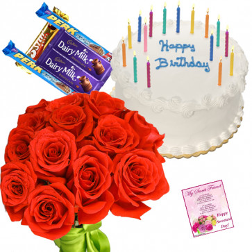 Favorable Combo - 15 Red Roses Bunch, 1/2 Kg Vanilla Cake, 5 Assorted Bars + Card