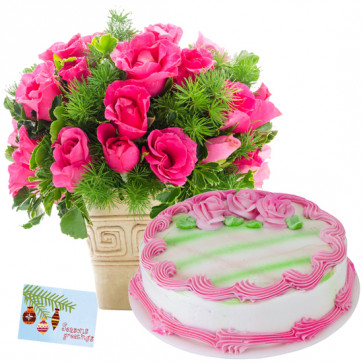 Virtuous Gift - 12 Pink Roses in Vase, 1/2 Kg Strawberry Cake + Card