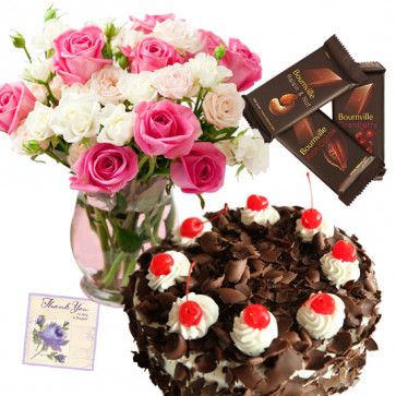 Commendable Presents - 20 Pink and White Roses in Vase, 1/2 kg Cake, 3 Bournville + Card