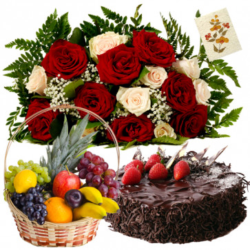 Obligating Treat - 15 Red and White Roses Bunch, 1/2 Kg Cake, 3 Kgs Fresh Fruits Basket + Card