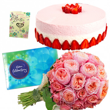 Magnanimous Gifts - 10 Pink Roses Bunch, 1/2 Kg Strawberry Cake, Cadbury Celebrations + Card
