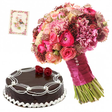 Right Feeling - 15 Pink Roses and Carnations Bunch, 1/2 Kg Chocolate Cake + Card