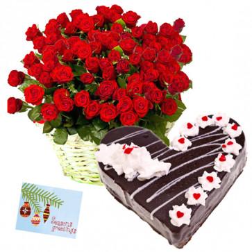 Worth You - 50 Red Roses Basket, 1/2 Kg Cake Heart Shape + Card